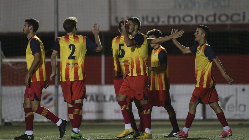 Celebració gol Josu amb selecció catalana amateur