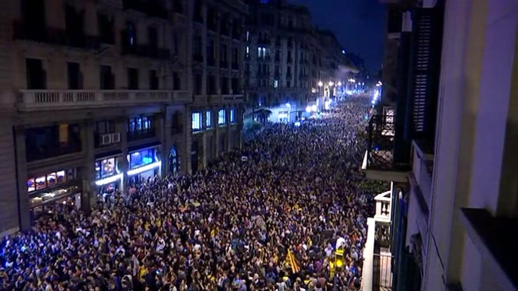 Imatge de la concentració a la via Laietana