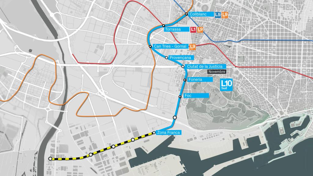 mapa L10 Sud metro