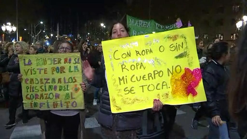 Cartells reivindicatius a la manifestació del 25 de novembre
