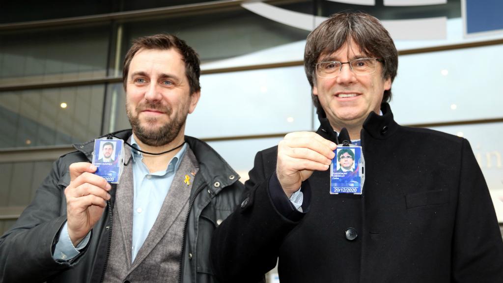 Carles Puigdemont i Toni Comín a l'Eurocambra