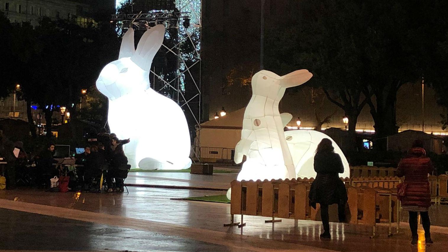 Conills gegants plaça de Catalunya