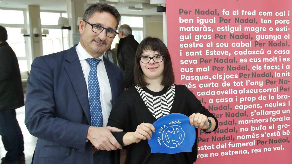 Anna Vives (Fundació Itinerarium) i Bernat Antràs (CN Barcelona) a la presentació 110a edició Copa Nadal