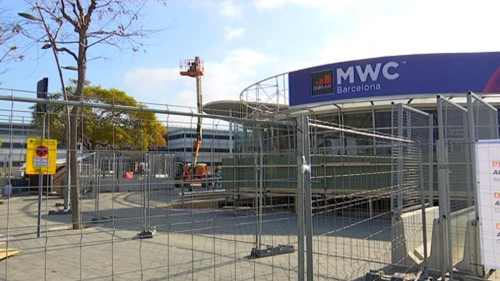 Muntatge del MWC a Fira de Barcelona