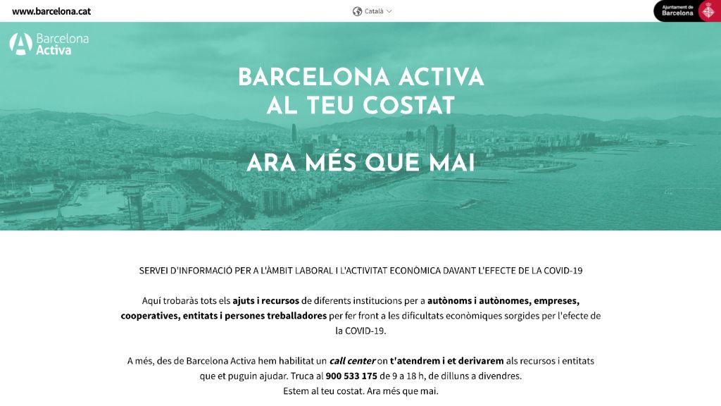 Portal web de Barcelona Activa d'informació sobre el coronavirus