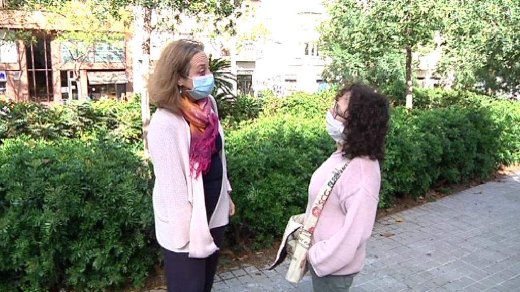La Mònica i la Saida, voluntàries de la Fundació Migra Studium