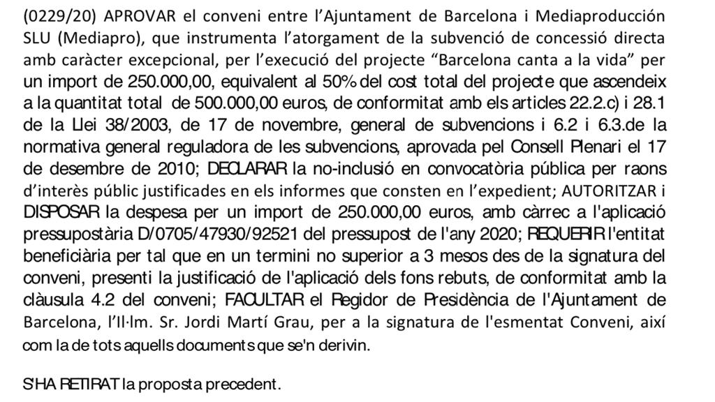 Conveni Ajuntament i Mediapro Concert als balcons