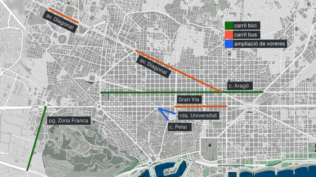 mapa carril bici Aragó bus Diagonal