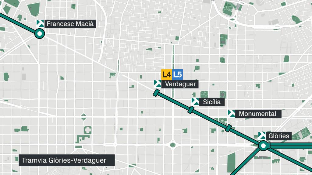 mapa tramvia Diagonal Glòries Verdaguer