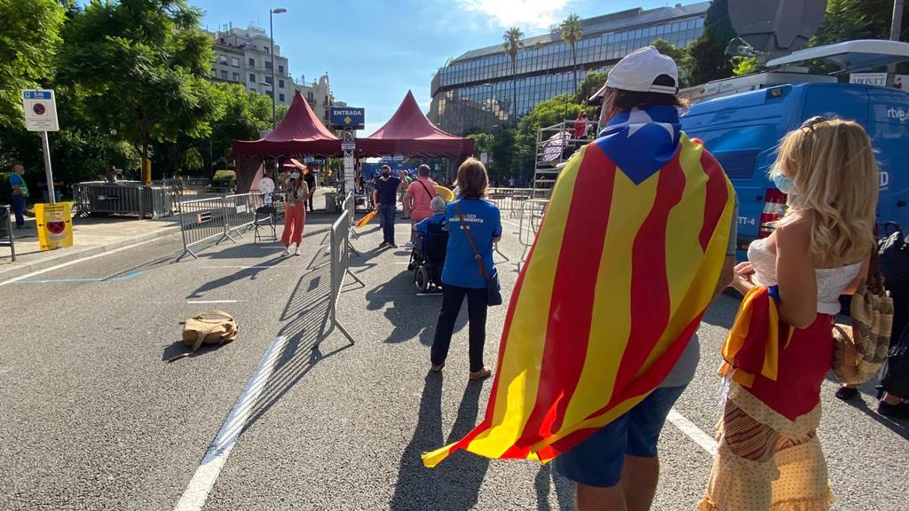 Entrada dels manifestants a plaça de Letamendi