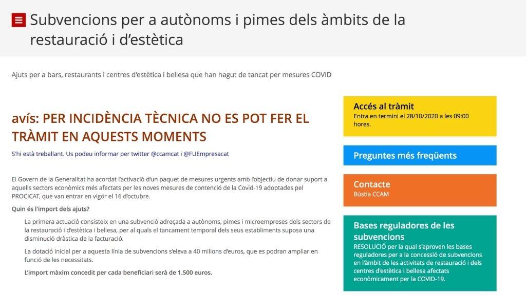 captura de pantalla del web de comerç de subvencions a restaurants i estetica