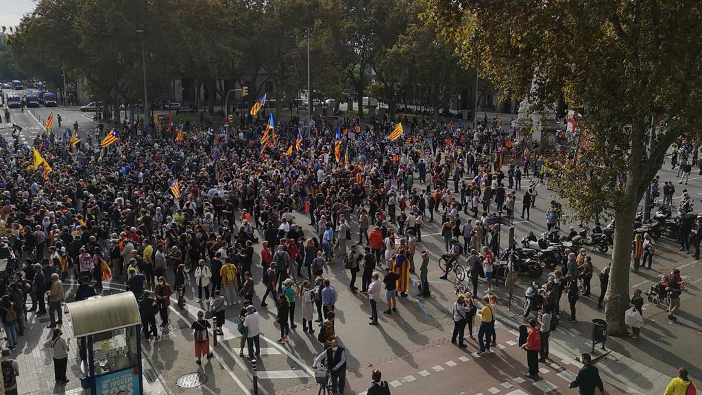 Manifestants a Pla de Palau