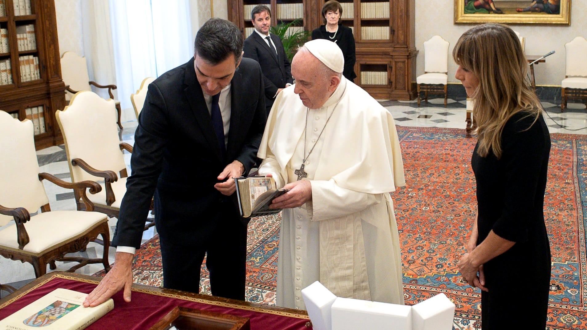 Pedro Sánchez i Papa Francesc al Vaticà