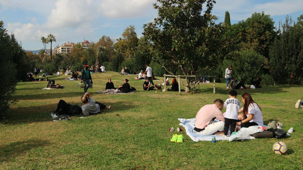 Diverses persones fent pícnics al Parc de la Ciutadella