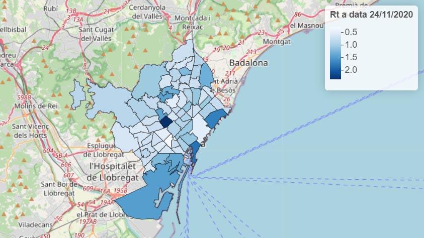 Taxa de contagi Rt a les àrees bàsiques de salut de Barcelona