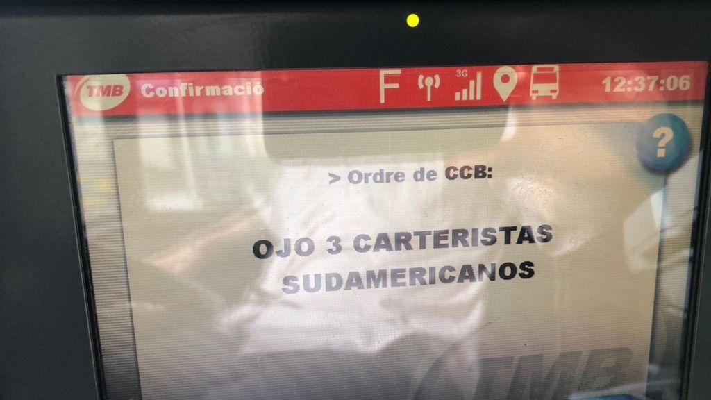 missatge carteristes sudamericans autobusos