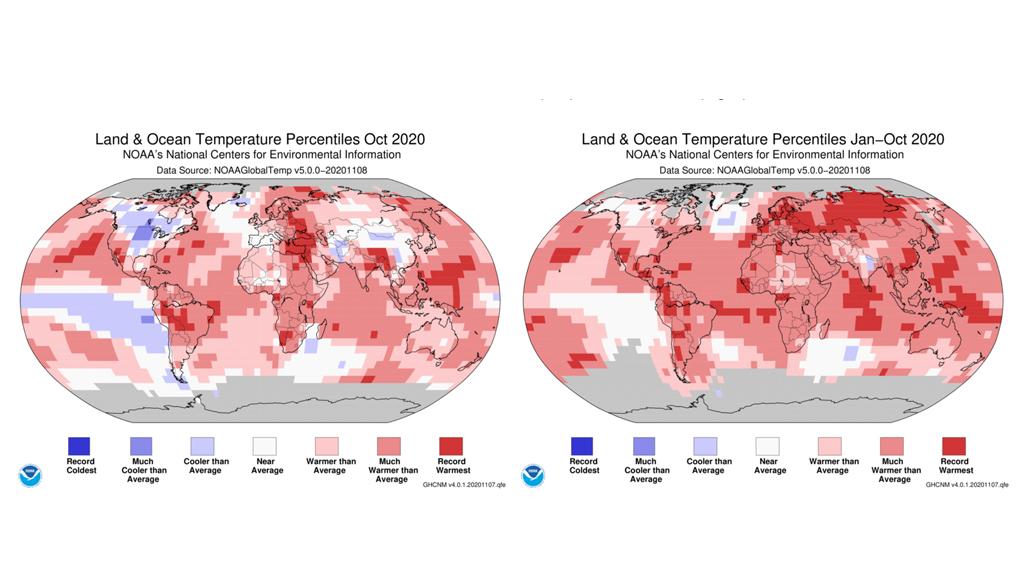 noaa canvi climàtic octubre 2020
