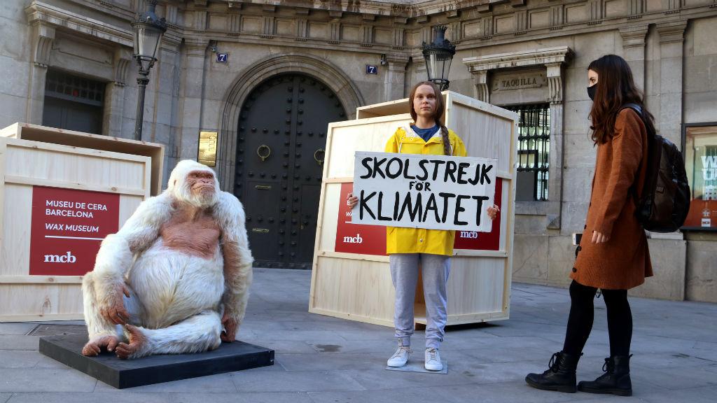 Les figures de Greta Thunberg i el Floquet de Neu a l'entrada del Museu de Cera
