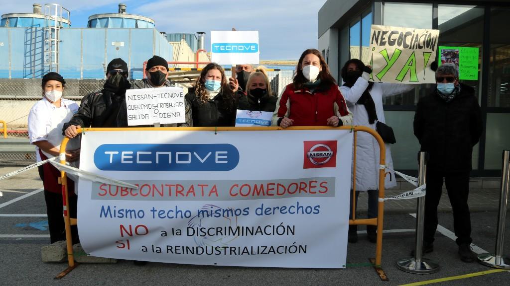 protesta del servei de restauració a la planta de Nissan