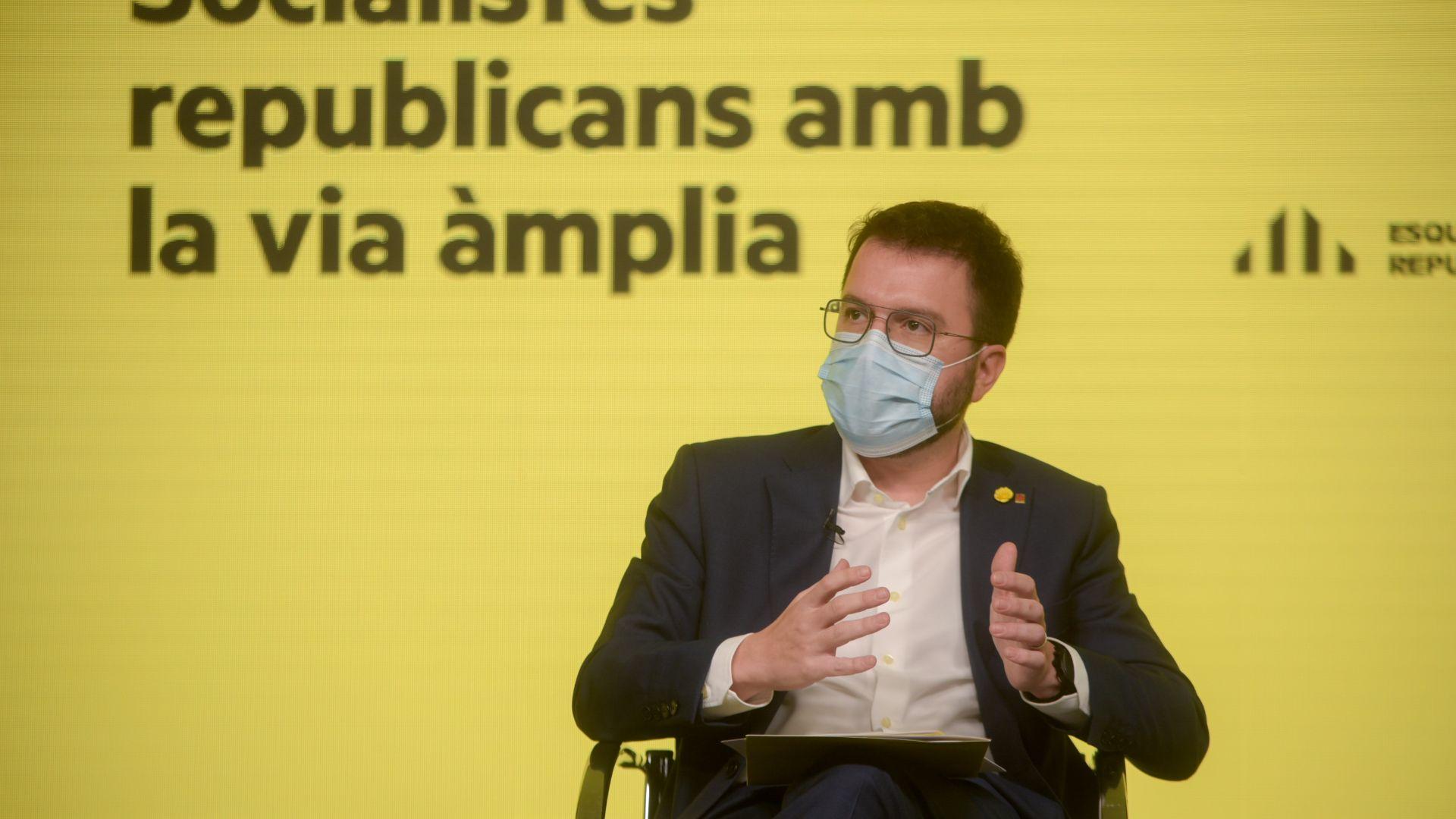 El candidat Pere Aragonès (ERC) en un míting