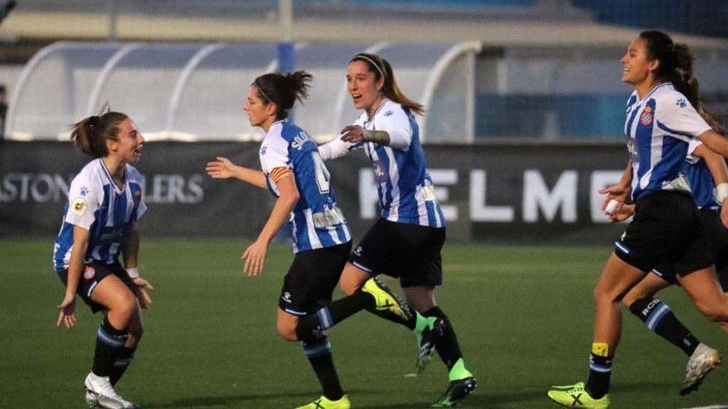 Celebració gol Paola Soldevila amb l'Espanyol Femení davant el València