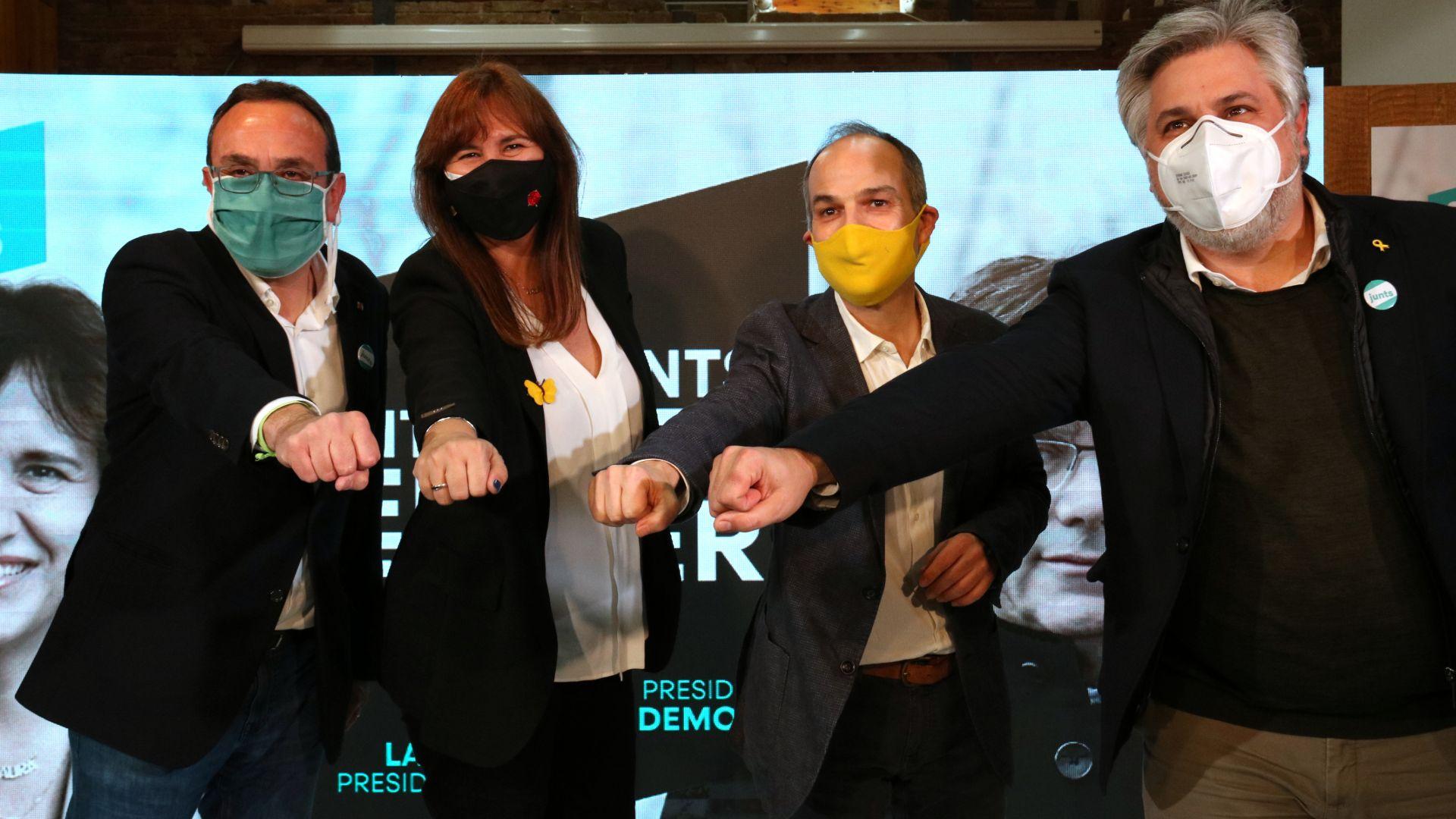 Rull, Turull, Borràs i Batet en un acte de campanya a Reus