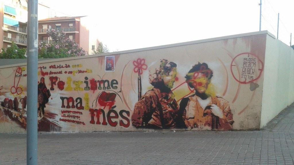 Mural atacat feixistes Clot Foto i obra Roc Blackblock 22-06-2013