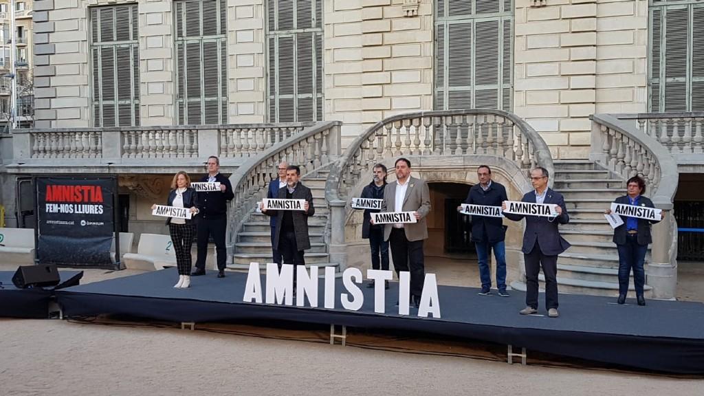 Acte d'Omnium al Palau Robert per demanar l'amnistia dels líders independentistes presos