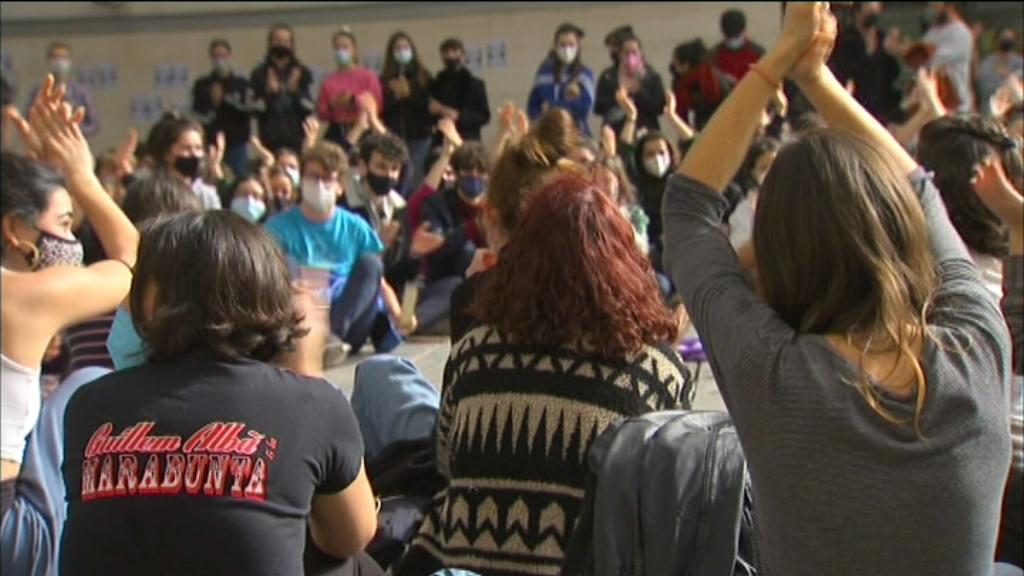 Concentració d'alumnes de l'Institut del Teatre