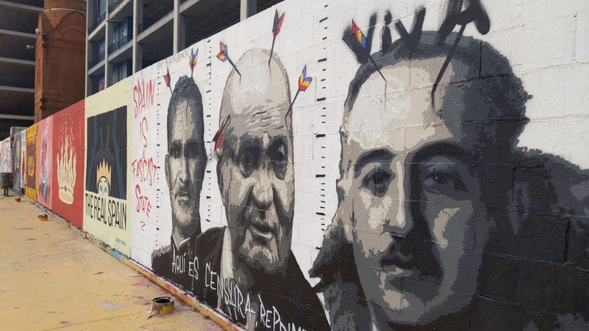 "mural pintada ""viva"" retrat Franco"