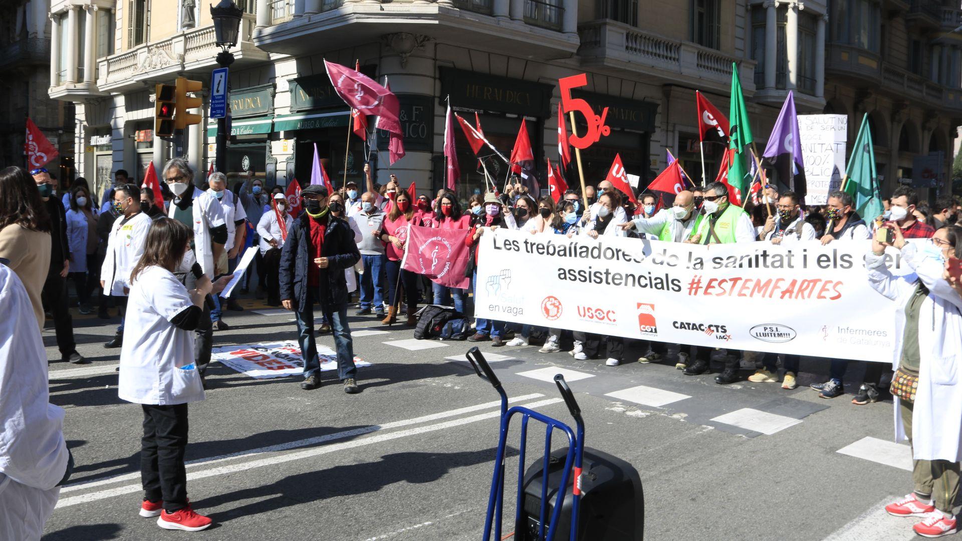 manifestació sanitaris Via Laietana