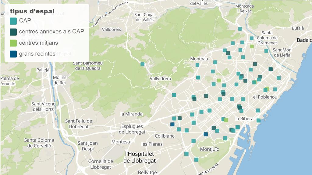 Mapa de punts de vacunació covid a Barcelona