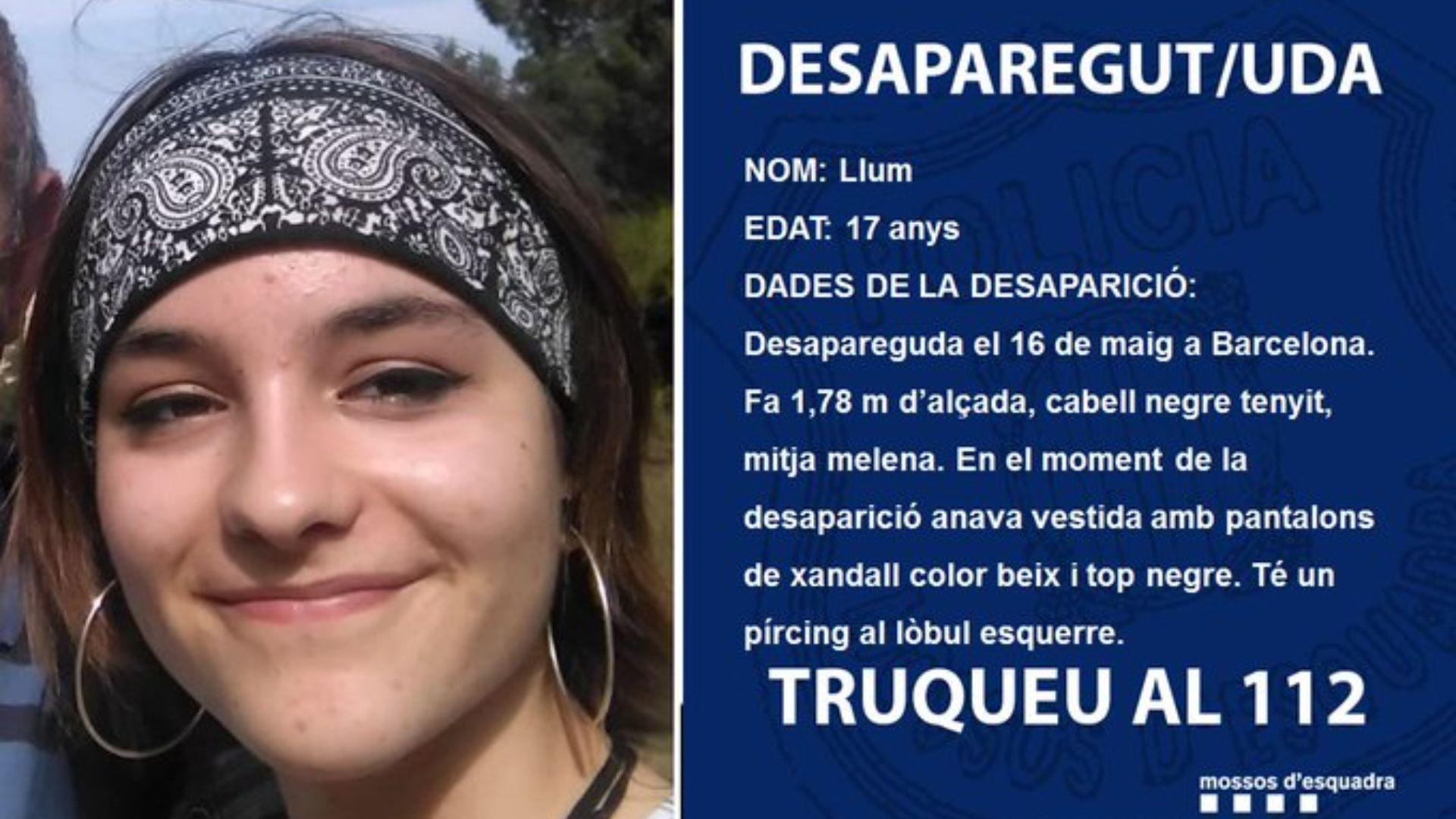 Imatge difosa pels Mossos d'Esquadra d'una noia desapareguda