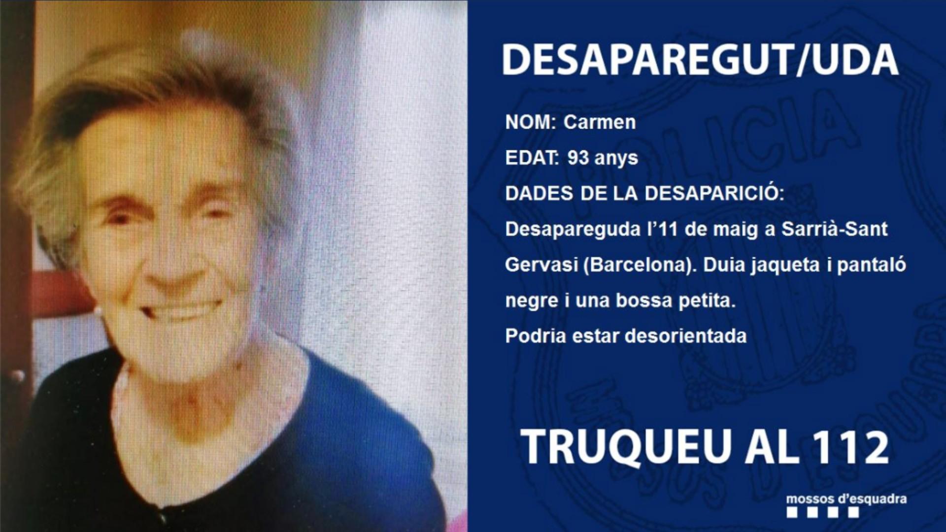Dona desapareguda Sarrià-Sant Gervasi