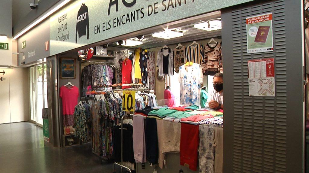 parada, roba, complements, mercat, penja robes, taulell, rètol