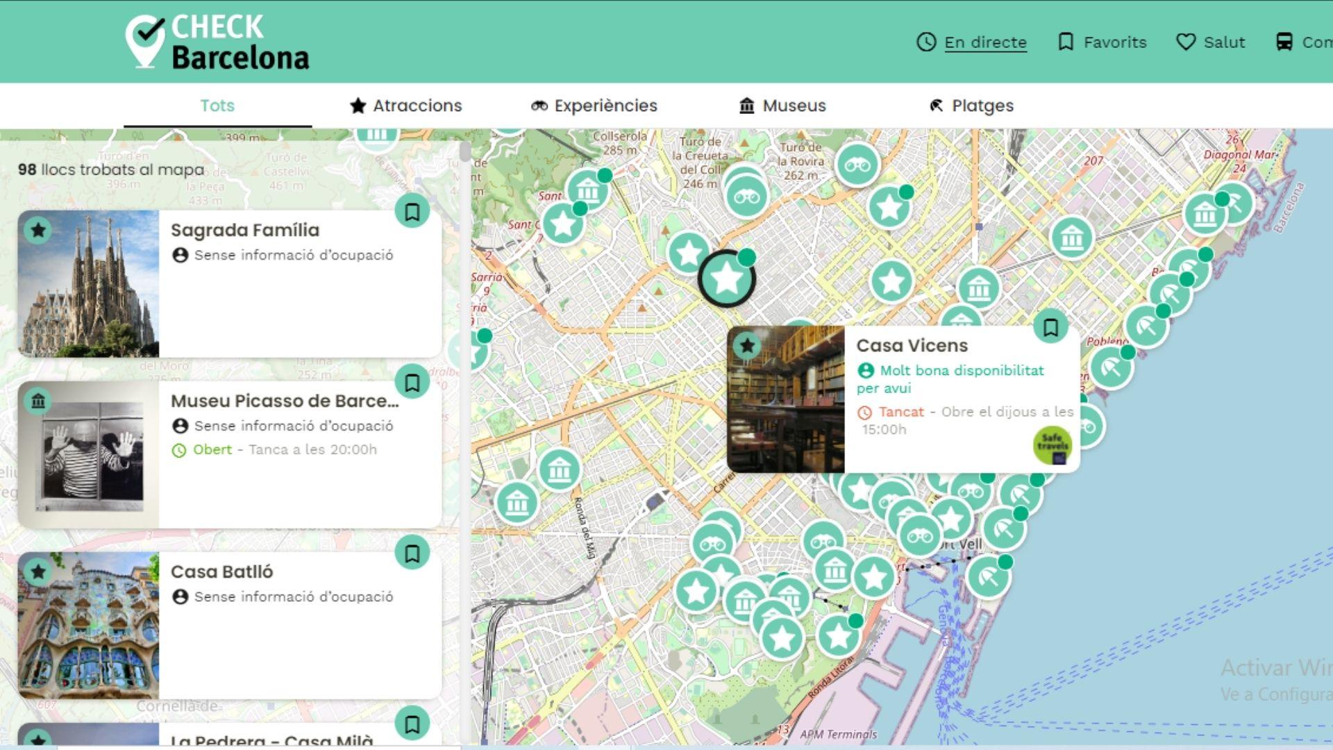 Mapa de l'app Check Barcelona
