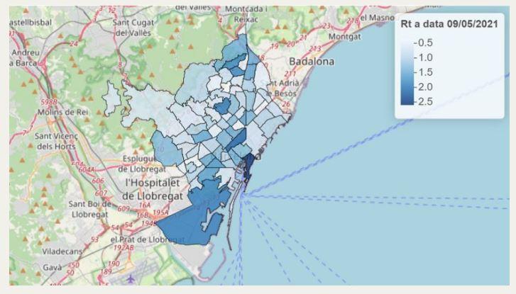 La Barceloneta taxa contagi barris