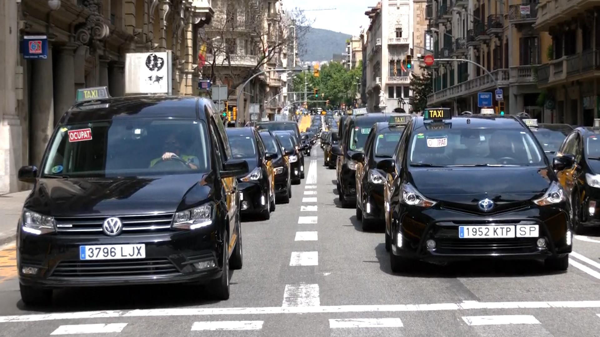 protesta taxistes via Laietana