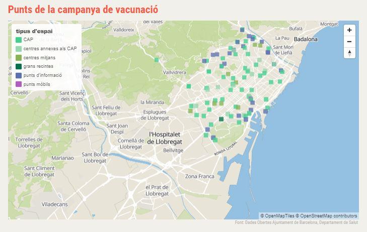 mapa vacunació Barcelona