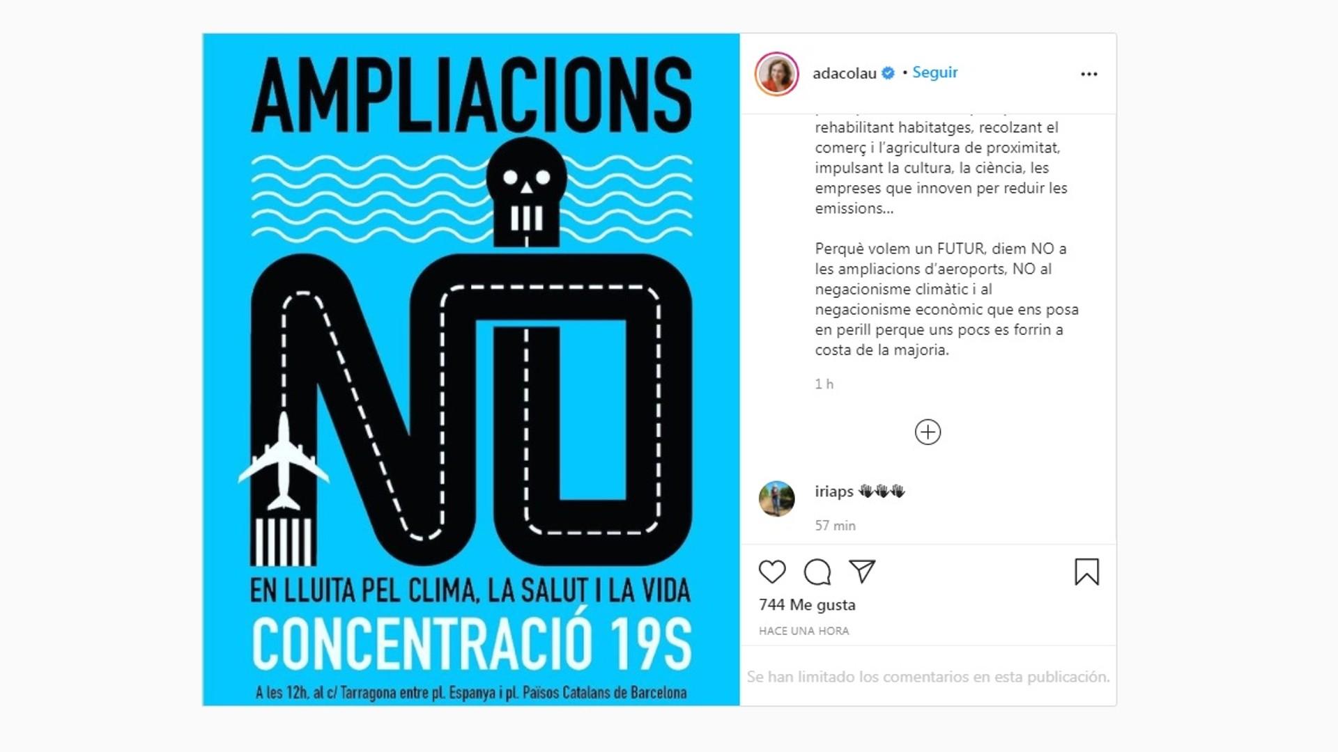 Colau a instagram sobre protesta la Ricarda