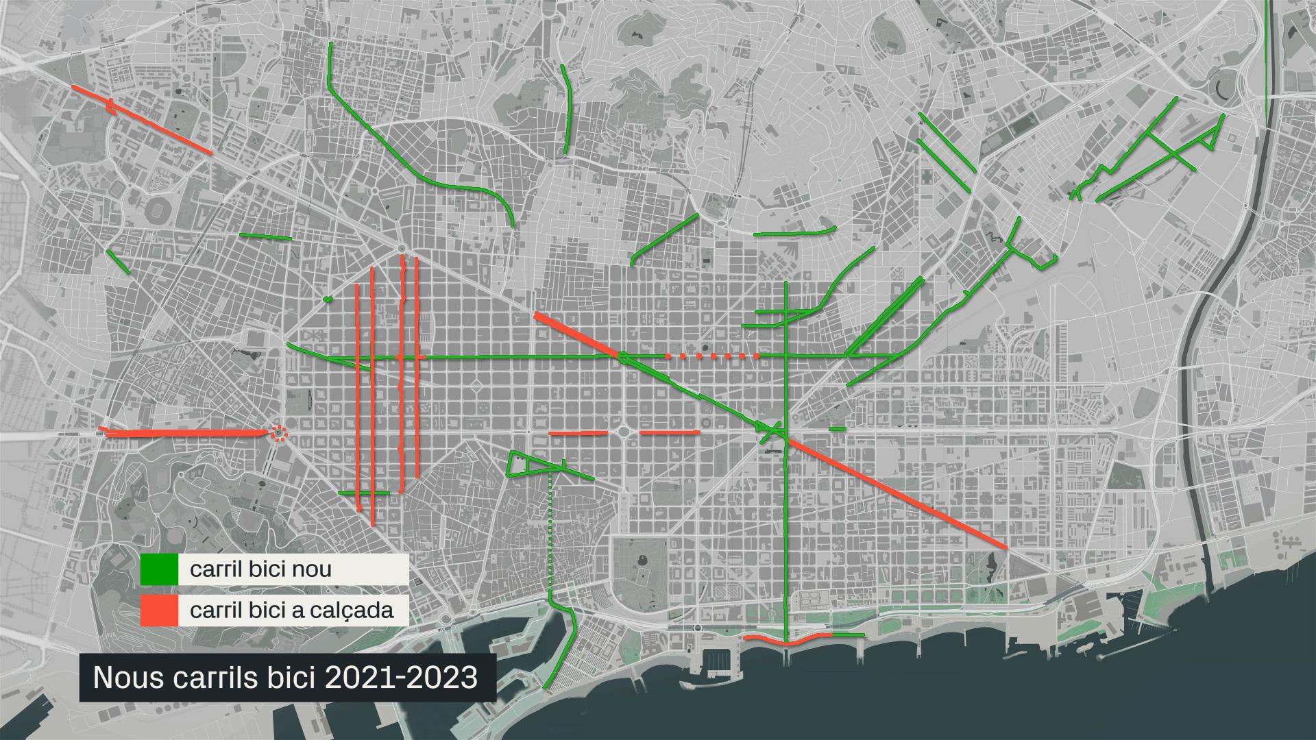 mapa nous carrils bici 2023